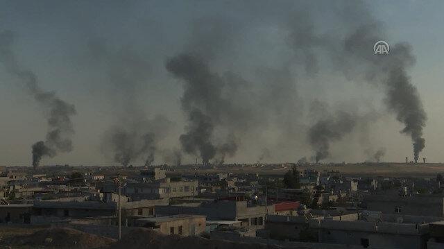 Terör örgütü Tal Abyad'da lastik ve mazot yakıyor