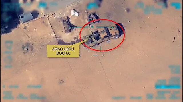 Teröristlere ait doçka uçaksavar monteli araç böyle vuruldu