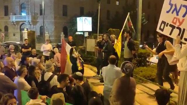 Terör örgütü yandaşı Yahudi grup Batı Kudüs'de Türkiye karşıtı sloganlar attı