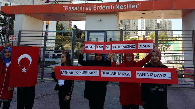 Öğrencilerden Mehmetçik'e destek: Dualarımızla yanınızdayız