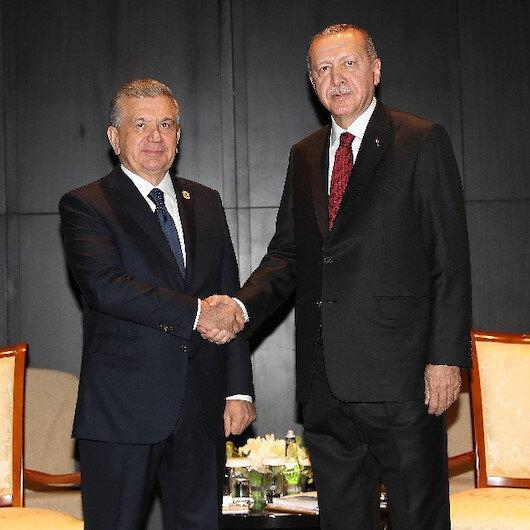 Cumhurbaşkanı Erdoğan Azerbaycan'da: Özbekistan lideri ile görüştü