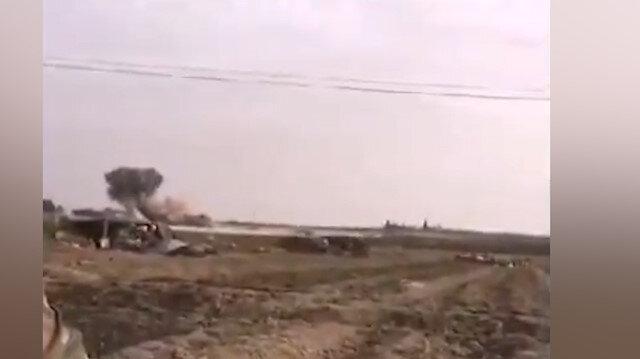 Terör örgütü YPG/PKK'lı teröristlerin mevzileri böyle vuruldu