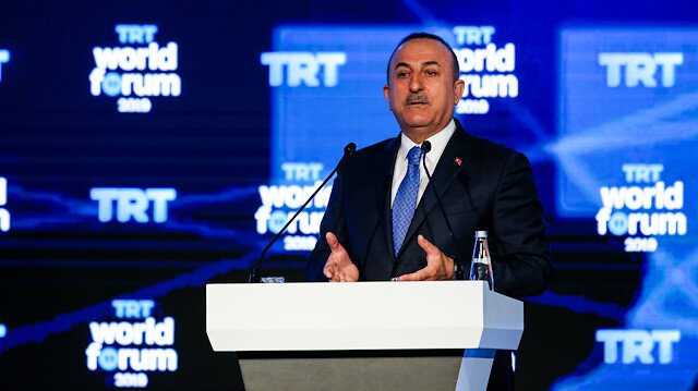 Mevlüt Çavuşoğlu speaks at TRT World Forum 2019