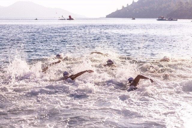 Aquamasters etkinliğinde yüzen sporcular.