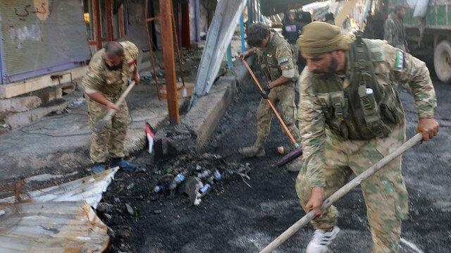 Rasulayn'ı terörden temizleyen Suriye Milli Ordusu şimdi de yolları temizliyor