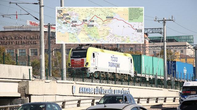 Çin'den gelen yük treni Ankara'da kalkış saatini bekliyor