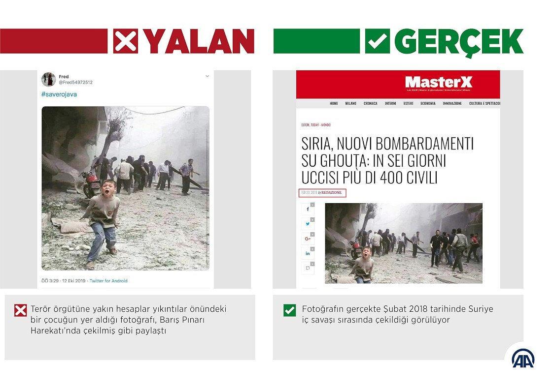 Barış Pınarı Harekatı'nda sosyal medyada yayılmaya çalışılan yalan haberlerden biri.