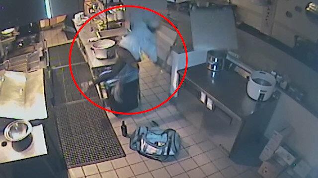 Restorana girmeye çalışan kadın hırsız, tavandan yere çakıldı