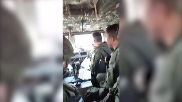 Devriye yapan araçların taşlanma anları Rus zırhlısı içerisinden kaydedildi