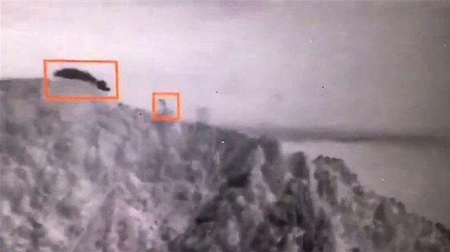 PKK'ya ait mühimmat deposunun imha edildiği anlar