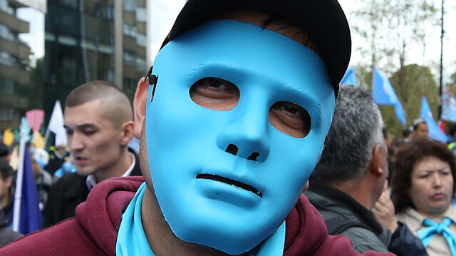 Protest in Brussels against China's Uyghur policy