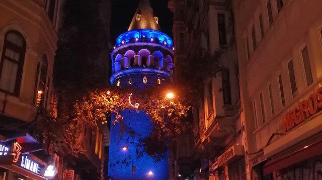 Galata Kulesi, Dünya Diyabet Günü'nde maviye büründü