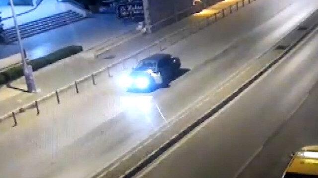 Alkollü sürücünün polisi 400 metre sürüklediği anlar kamerada