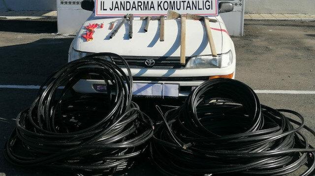 Samsun'da jandarmadan kablo hırsızlarını suçüstü yakaladı