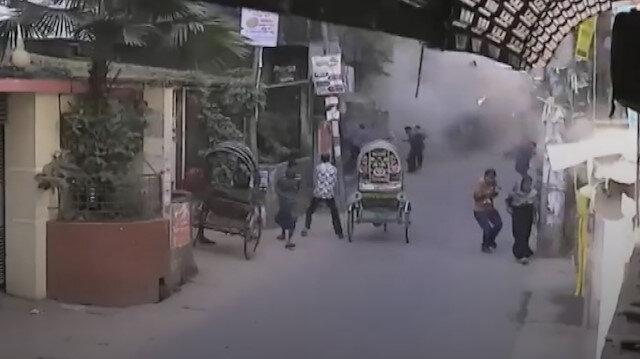 Bangladeş'te 7 kişinin hayatını kaybettiği patlama anı kamerada