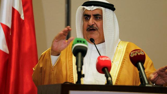Bahraini Foreign Minister Sheik Khalid bin Ahmed Al Khalifa speaks to media