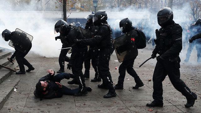 Fransız polisi barbarlaştı: Paris'te kan gövdeyi götürdü
