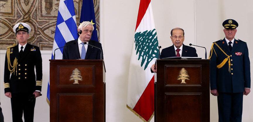 Lübnan Cumhurbaşkanı Avn ile Yunanistan Cumhurbaşkanı Pavlopoulosn