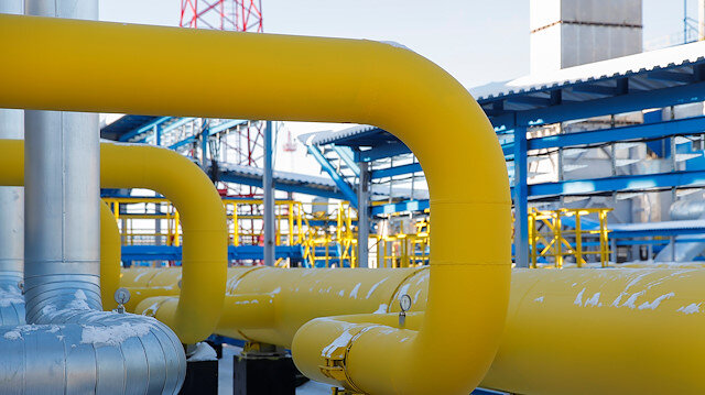 Gas pipelines are pictured at the Atamanskaya compressor station