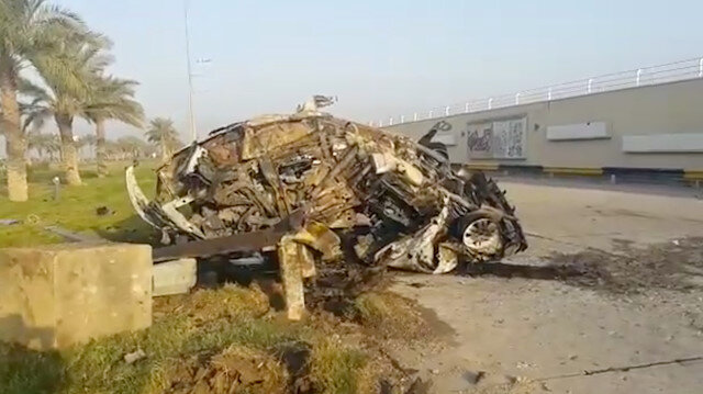 A damaged car, claimed to belong to Qassem Soleimani and Abu Mahdi al Muhandis