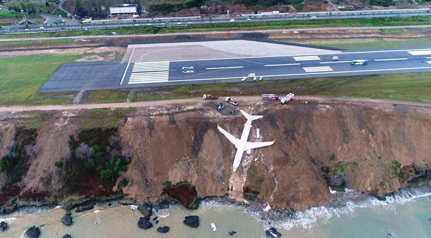 14 Ocak 2018'de Trabzon'da pistten çıkan uçak