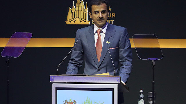 Qatar's Emir Sheikh Tamim bin Hamad Al Thani speaks during Kuala Lumpur Summit in Kuala Lumpur, Malaysia, December 19, 2019. REUTERS/Lim Huey Teng