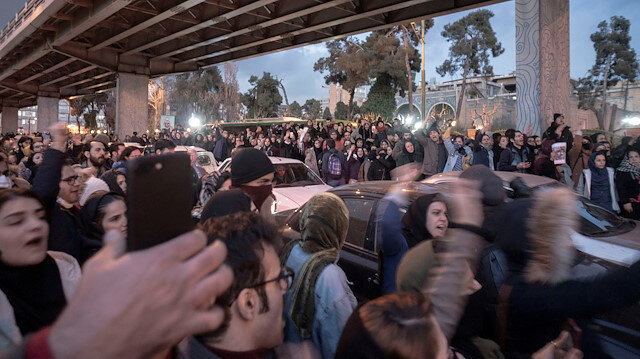 Protesters demonstrate in Tehran, Iran January 11, 2020 in this picture obtained from social media