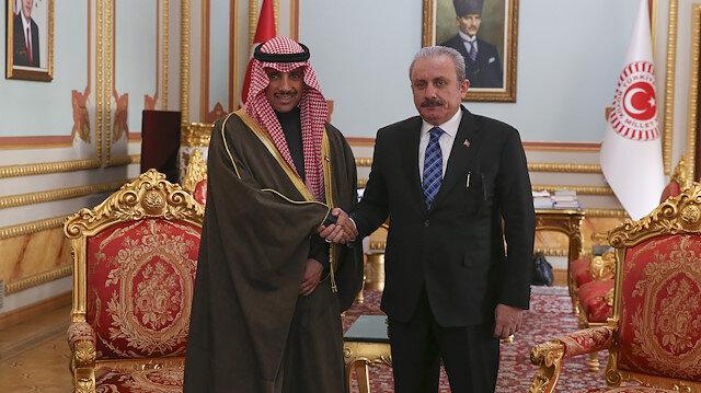 أنقرة.. شنطوب يستقبل رئيس مجلس الأمة الكويتي في مقر البرلمان