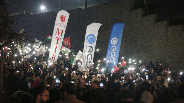 Protesters gather in front of the U.S. Consulate in Istanbul