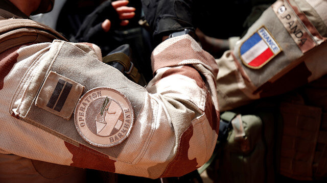 A close-up of the France's Barkhane operation patch worn by French troops