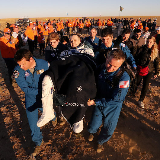 Capsule carrying astronauts from ISS lands in Kazakhstan