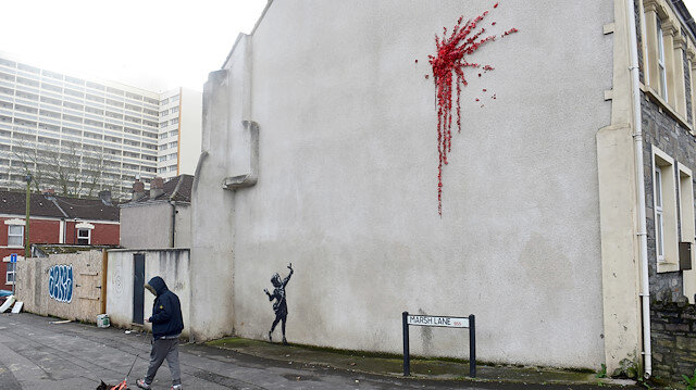 A suspected new mural by artist Banksy is pictured in Marsh Lane in Bristol, Britain, February 13, 2020.