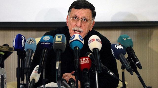 Fayez Mustafa al-Sarraj, Libya's internationally recognised Prime Minister, speaks during a news conference in Tripoli, Libya February 15, 2020. REUTERS/Ismail Zitouny