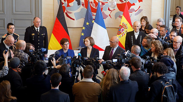 French Defense Minister Florence Parly, German Defense Minister Annegret Kramp-Karrenbauer and Spanish Defense Junior Minister Angel Olivares Ramirez talk to journalists after a meeting for next phase in development of the Franco-German-Spanish Future Combat Air System (FCAS / SCAF), Europe's next-generation fighter jet, in Paris, France, February 20, 2020.
