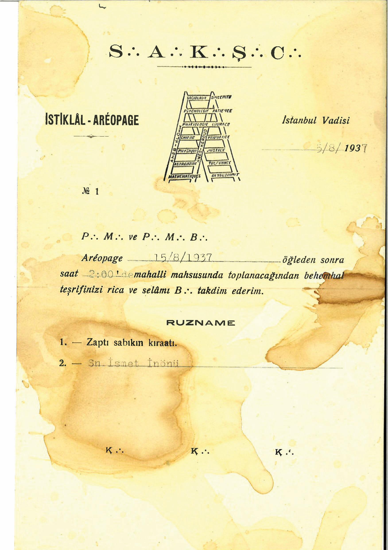 İsmet İnönü'nün masonik toplantıya daveti ve 1960 yılında İnönü için MAH'a yazılan tedbir dilekçesi.