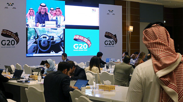 Journalists sit in the media center during the meeting of G20 finance ministers and central bank governors in Riyadh, Saudi Arabia, February 22, 2020.