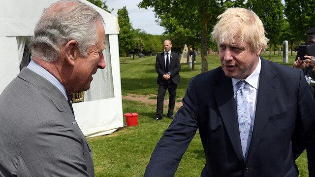 Britain's Prince Charles chats to Britain'sPM Boris Johnson