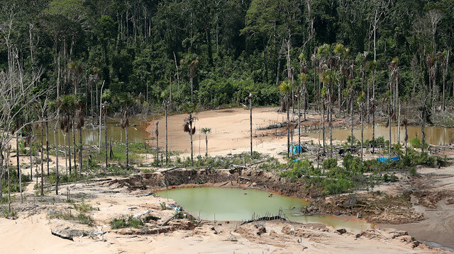 An aerial view shows a deforested area of the Amazon jungle in southeast Peru caused by illegal mining, during a Peruvian military operation to destroy illegal machinery and equipment used by wildcat miners in Madre de Dios, Peru, March 5, 2019
