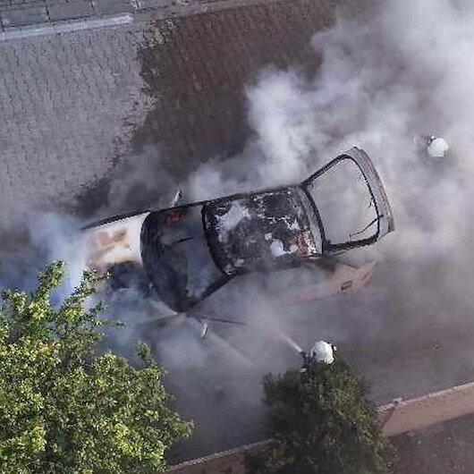 Sürücüsünün çalıştırmasıyla alev alan otomobil küle döndü