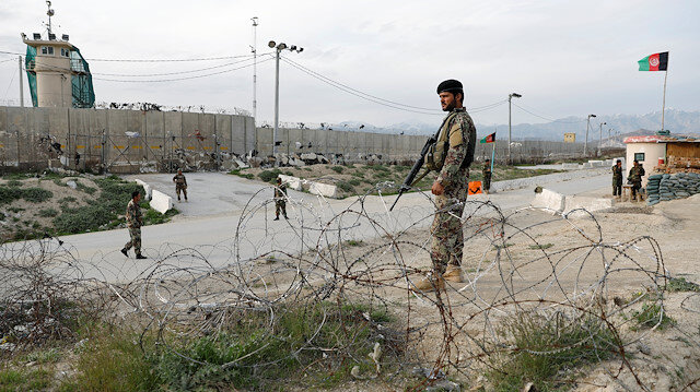File photo: An Afghan National Army (ANA) soldier stands guard outside Bagram prison