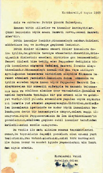 Fetullah Gülen'in 6 Mayıs 1965 yılında yazdığı mektup
