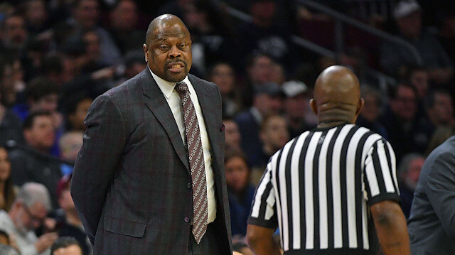 File photo: Feb 3, 2019; Philadelphia, PA, USA; Georgetown Hoyas head coach Patrick Ewing (left) questions a call during the first half against the Villanova Wildcats at Wells Fargo Center
