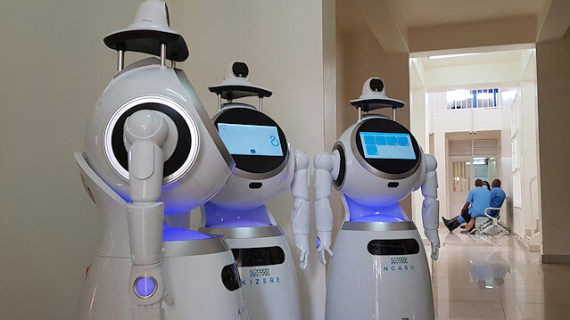 High-tech robots developed by Zora Bots, a Belgium-based company, and donated by the United Nations Development Program (UNDP) are seen during a demonstration at the Kanyinya treatment centre that treats coronavirus disease (COVID-19) patients, in Kigali, Rwanda May 29, 2020. Picture taken May 29, 2020.