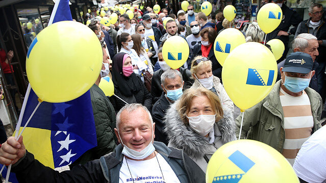 Bosnians protest against corruption and a delayed election in Sarajevo, Bosnia and Herzegovina May 30, 2020.