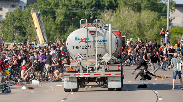 A tanker truck drives into thousands of protesters marching on 35W north bound highway during a protest against the death in Minneapolis police custody of George Floyd, in Minneapolis, Minnesota, U.S. May 31, 2020