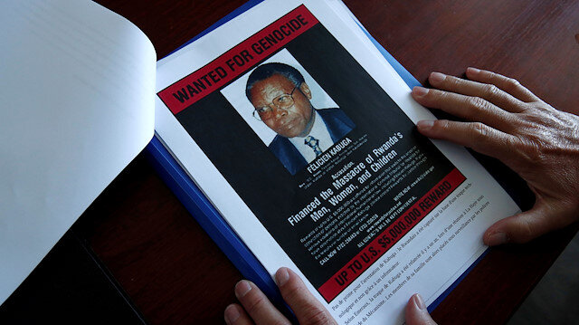 Poster depicting a photograph of Felicien Kabuga