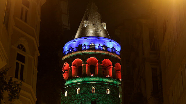 File photo: Istanbul's landmarks are illuminated with colors of Azerbaijan's flag