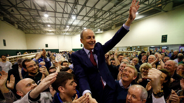 Fianna Fail leader Micheal Martin celebrates after the announcement of voting results, at a count centre during Ireland's national election, in Cork, Ireland, February 9, 2020.