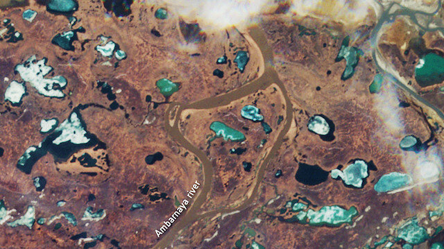 An image captured on May 23, 2020 by the Copernicus Sentinel-2 mission shows Ambarnaya River before a diesel spill by a fuel tank at a power plant near Norilsk, operated by a subsidiary of Norilsk Nickel, and collapsed on May 29th. Picture taken May 23, 2020. Contains modified Copernicus Sentinel data (2020), processed by ESA, CC BY-SA 3.0 IGO/via REUTERS