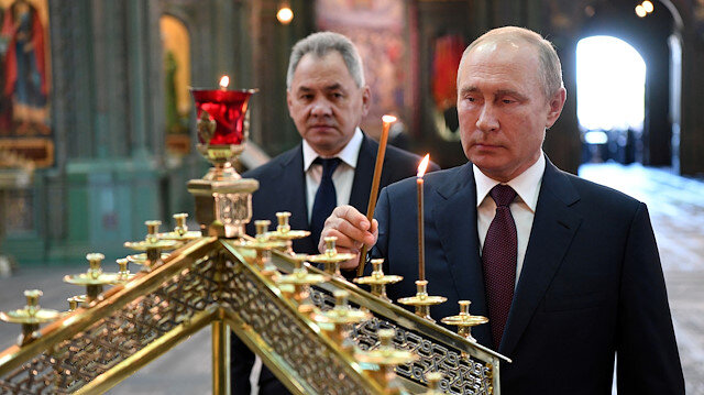Russia's President Vladimir Putin and Defence Minister Sergei Shoigu visit the newly constructed Resurrection of Christ Cathedral, the main Orthodox Cathedral of the Russian Armed Forces, near Moscow, Russia June 22, 2020. Sputnik/Alexei Nikolsky/Kremlin via REUTERS ATTENTION EDITORS - THIS IMAGE WAS PROVIDED BY A THIRD PARTY.
